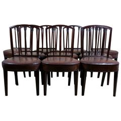 Rare Set of Ten English Mahogany 18th Century Sheraton Dining Chairs