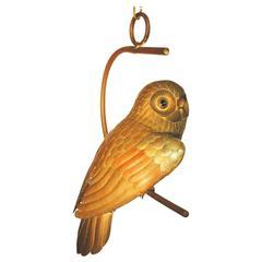 Sergio Bustamante Tri Metal Hanging Owl Sculpture