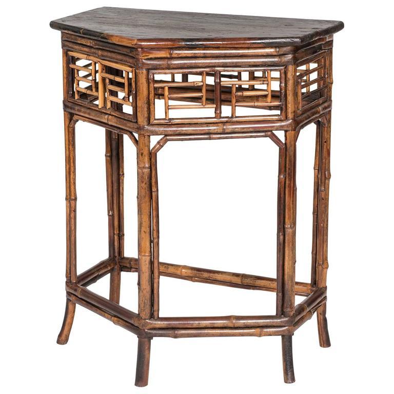 English Bamboo Demi Console Table