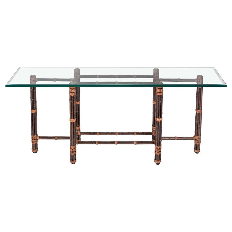 Bamboo Glass Top Sofa Table By Mcguire At 1stdibs