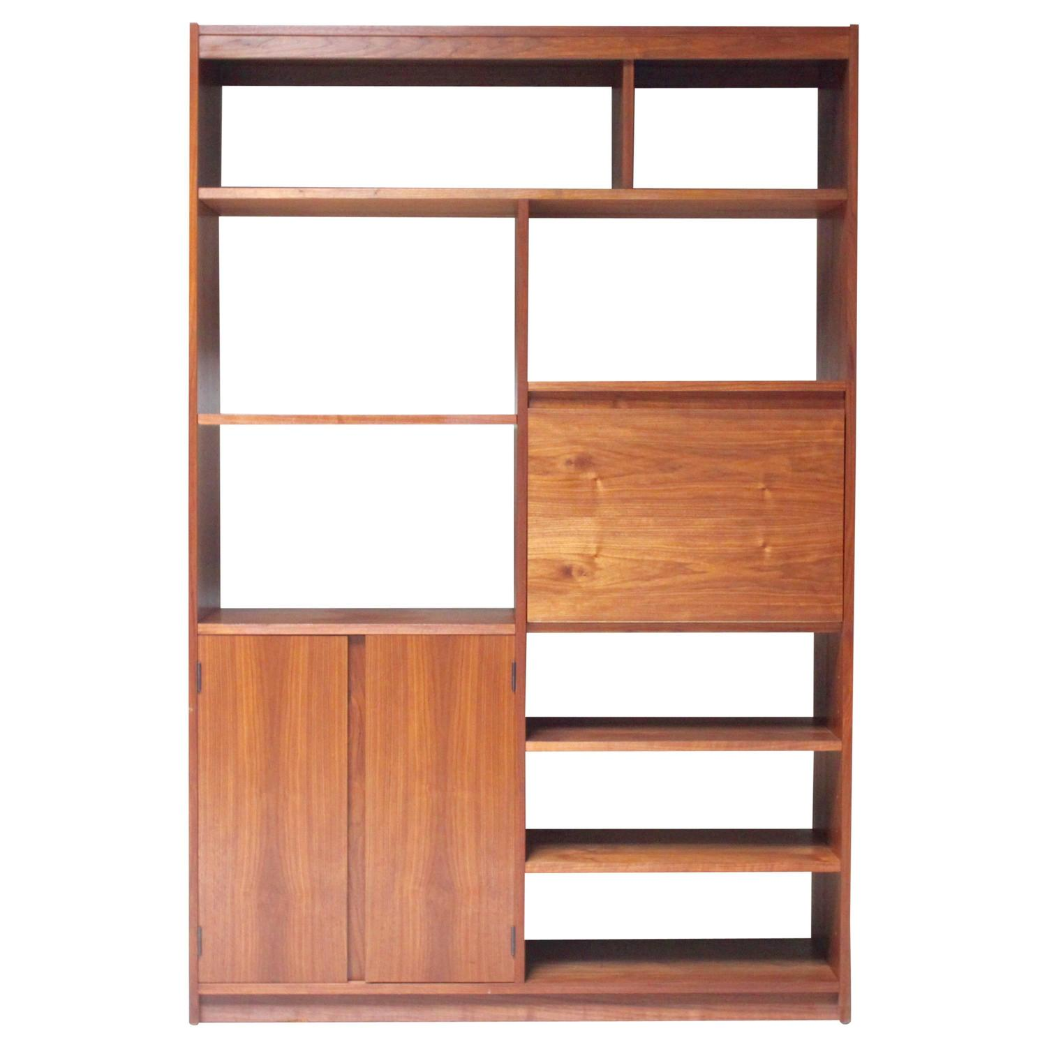 American Modern Walnut Bookcase At 1stdibs