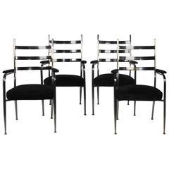 Set of Four Chrome Armchairs