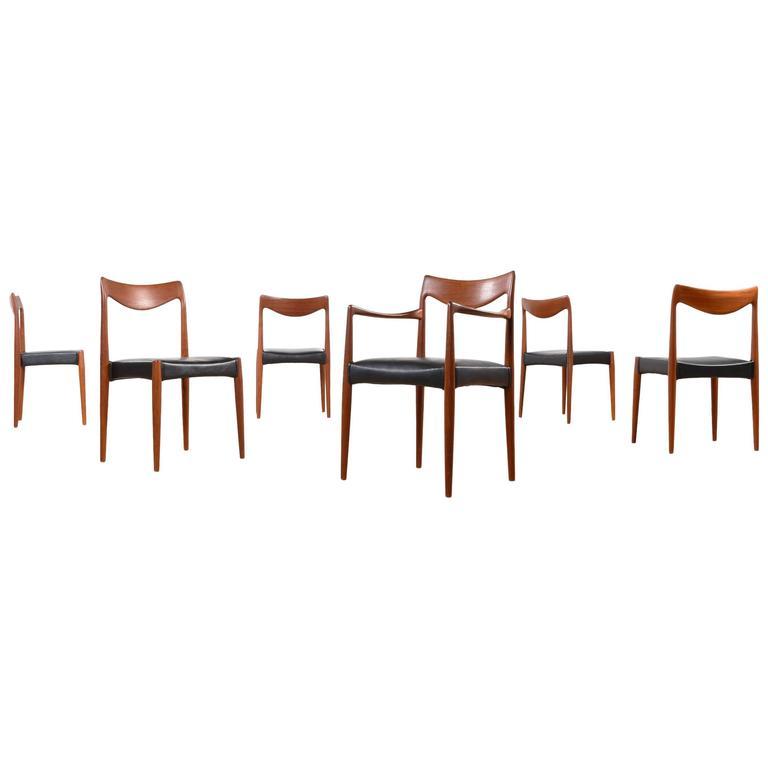 Mid-Century Modern Gustav Bahus Bambi Danish Teak Dining Chairs For Sale