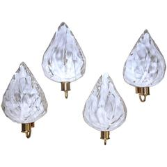 Set of Four La Murrina Murano White and Clear Glass Leaf Wall Sconces