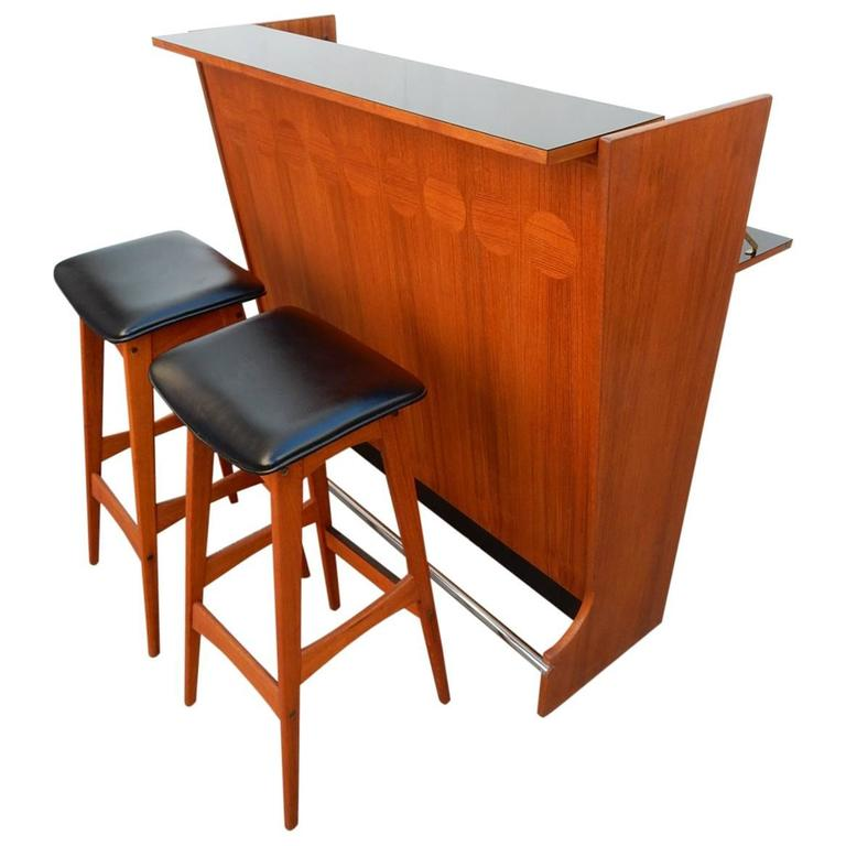 Mid Century Danish Modern Teak Wood Dry Bar And Stools By