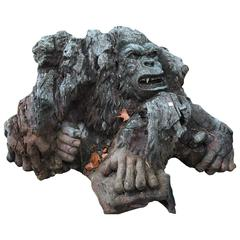 Big Sculpted Wood Monkey, Beginning 20th Century European Work