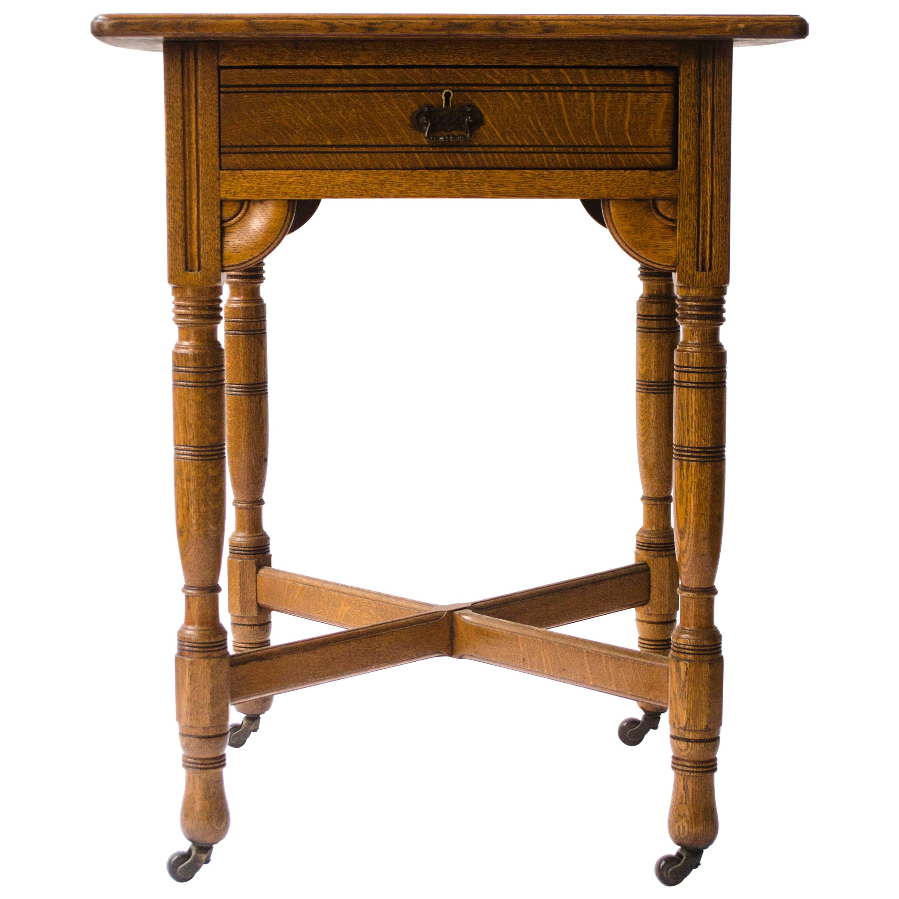 Bruce Talbert Attributed,. Gothic Revival Oak Side Table With Upper Drawer