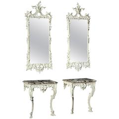 Pair of George II White Decorated Console Tables with Pier Mirrors En Suite