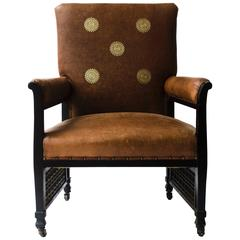 An Anglo-Japanese Lounge Chair with EW Godwin Design Embossed Leather Sunflowers