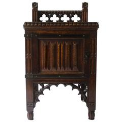 Bruce Talbert Gothic Revival Oak Night Table With Carved Linen Fold Carvings.