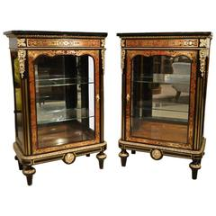 Wonderful Pair of 19th Century Boulle Pier Cabinets