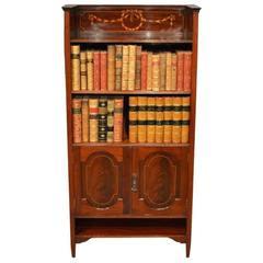 Small Mahogany Inlaid Edwardian Period Mahogany Bookcase by Shapland & Petter