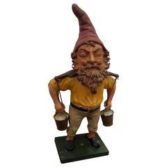 Rare Antique Terracotta Garden Gnome Sculpture