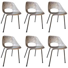 Set of Six Molded Aluminum Chairs by Pierre Guariche, France, 1950s