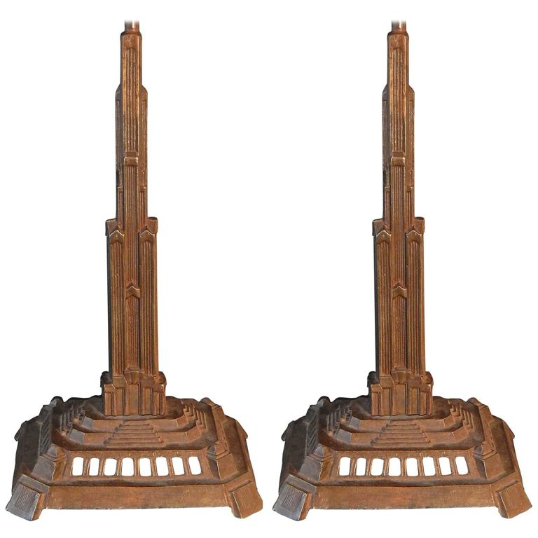 Pair of Bronze Art Deco Skyscraper Lamps, Antique and Highly Rare For Sale