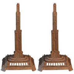 Pair of Bronze Art Deco Skyscraper Lamps, Antique and Highly Rare
