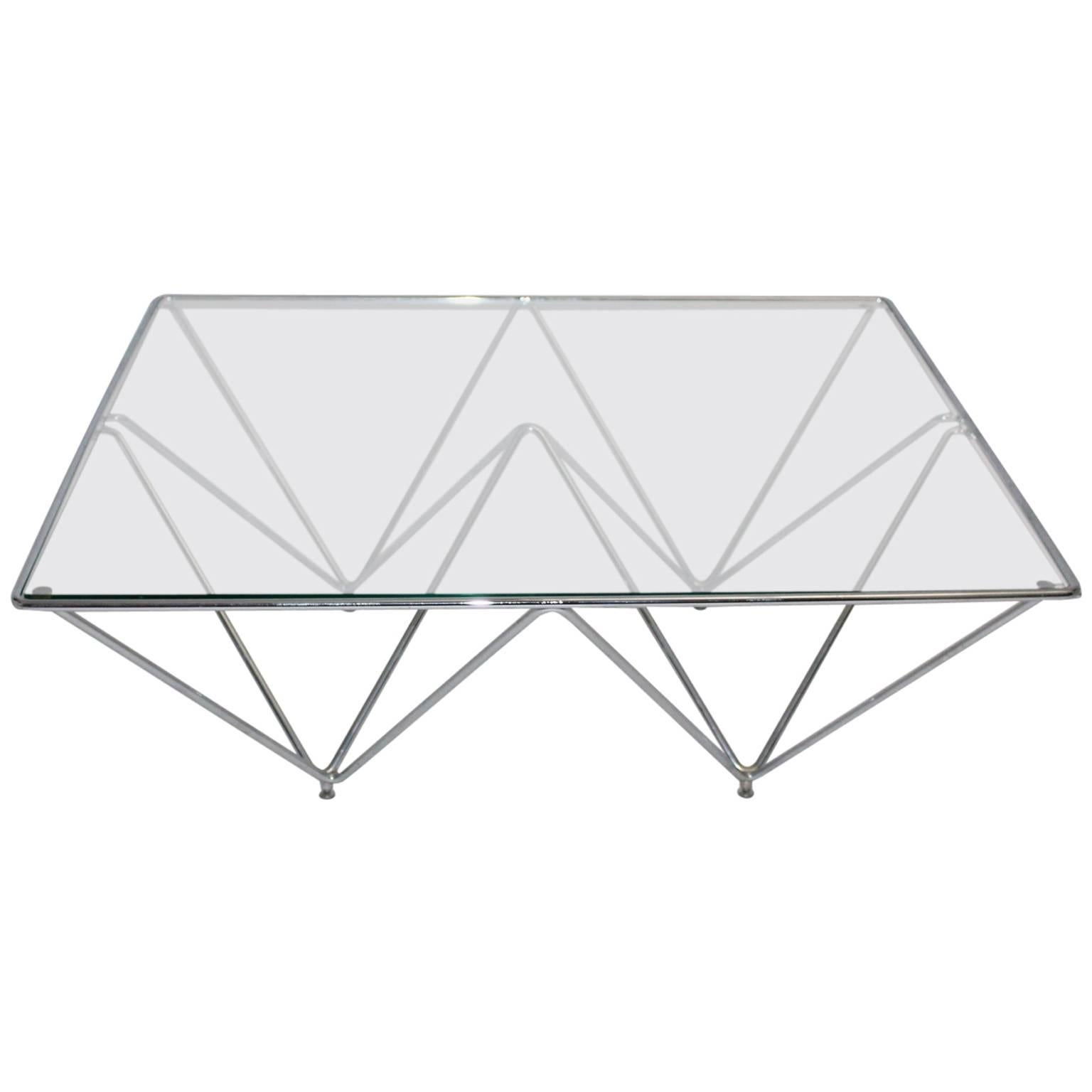 Modern Vintage Metal Glass Coffee Table Sofa Table Paolo Piva Style Italy 1980s