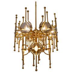Sciolari Chandelier Twelve Lights, Gold Gilt and Glass, 1970s, Italian