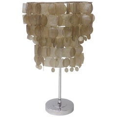 Verner Panton Style Capiz Shell Table Lamp
