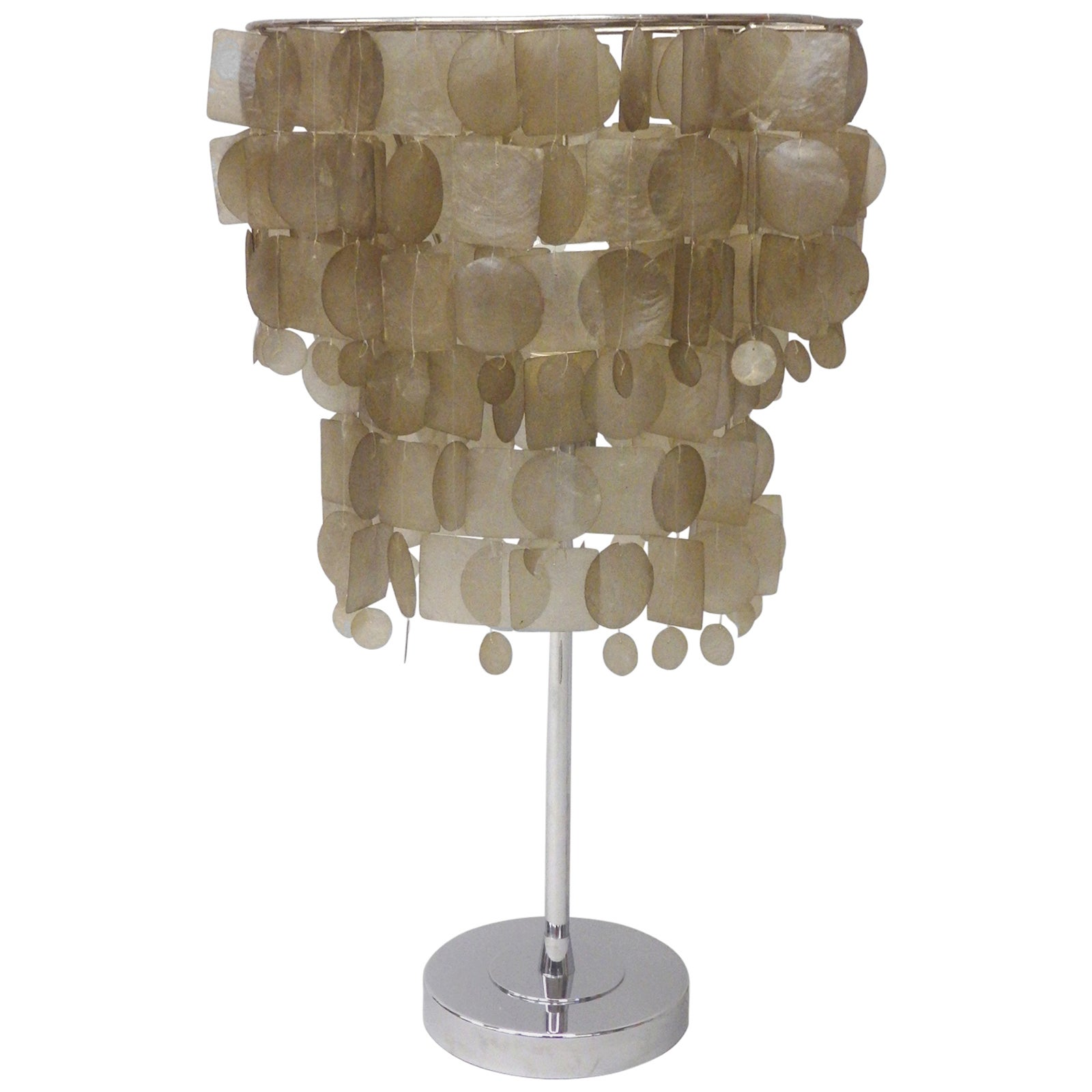 Verner Panton Style Capiz Shell Table Lamp