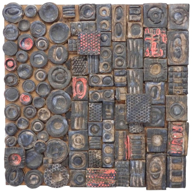 Svea Kline Wheels of Detroit Abstract Pottery Wall Sculpture For Sale