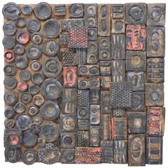 Svea Kline Wheels of Detroit Abstract Pottery Wall Sculpture