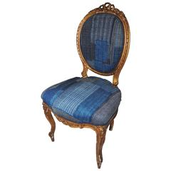Antique French Gilt Chair Upholstered in an Antique Japanese Indigo Boro Textile