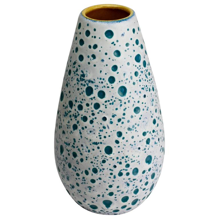 Beautiful West German Turquoise and White Moon Crater Vase by Ü-Keramik, 1960s For Sale