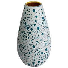 Beautiful West German Turquoise and White Moon Crater Vase by Ü-Keramik, 1960s
