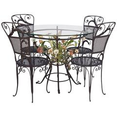 1940s Iron Patio Set with Floral Motif