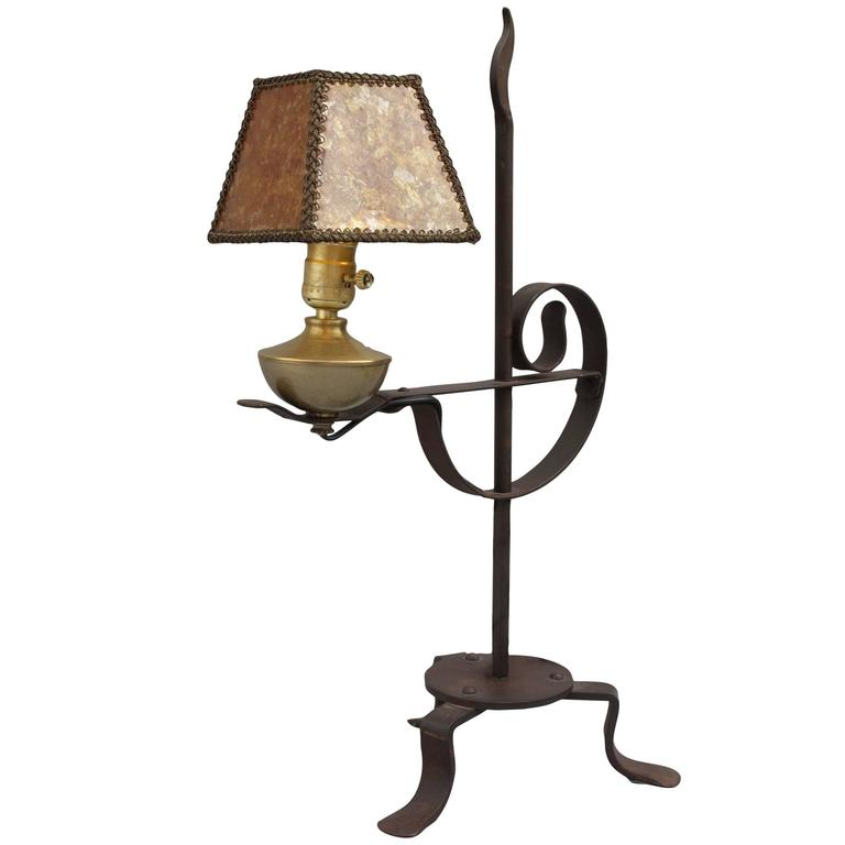 1920s Small Rancho Style Lamp with Mica Shade