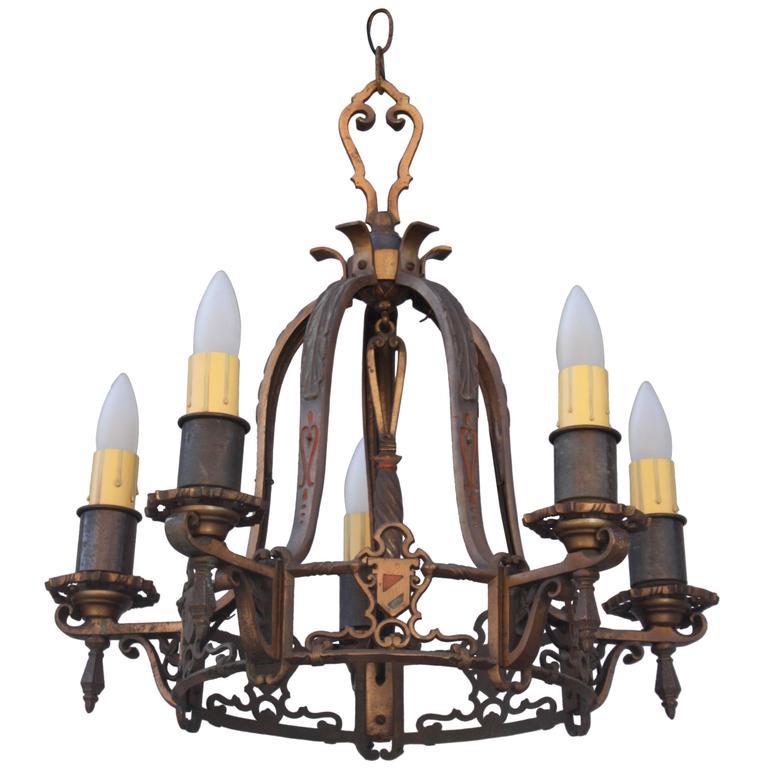 Items Similar To Lighting Rustic Chandelier Vintage 1920 S: Cast Brass Five-Light Shield Motif Chandelier, 1920s For