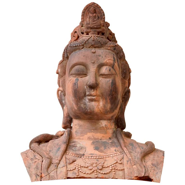 Massive Larger Than Life Terracotta Bust of Guan Yin, Early 20th Century, China For Sale