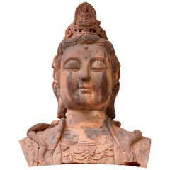 Massive Larger Than Life Terracotta Bust of Guan Yin, Early 20th Century, China
