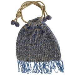 1930s Hand Beaded Flapper Drawstring Evening Bag