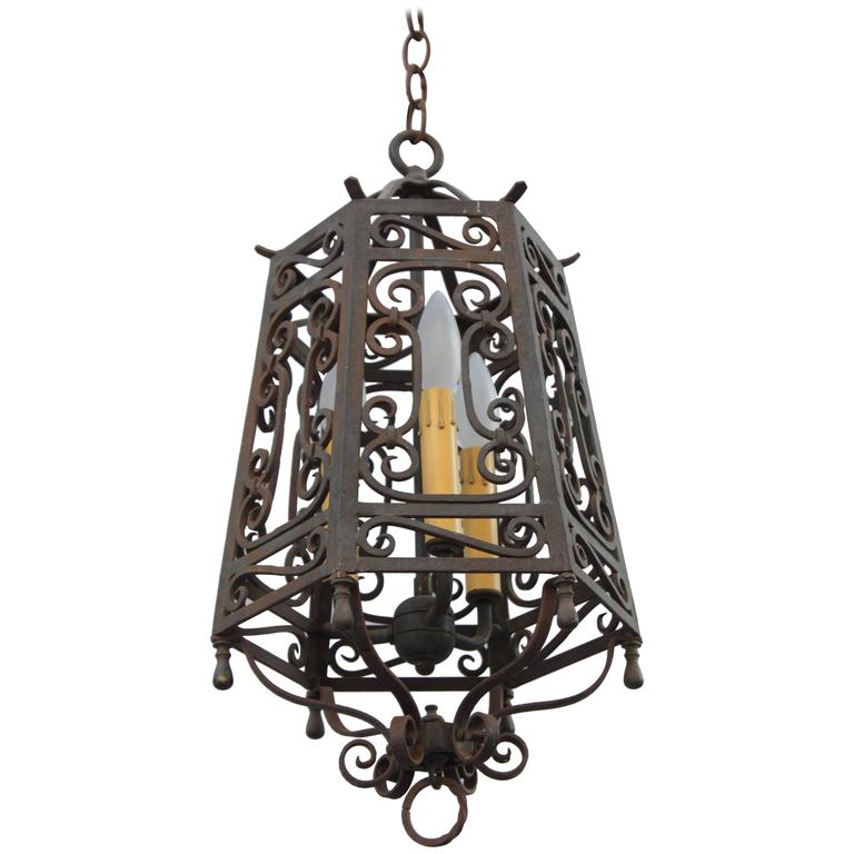 1920s Spanish Revival Wrought Iron Pendant Light At 1stdibs