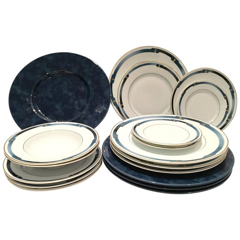 Christofle Paris \ Iriana Bleu\  18-Piece Limoge Dinnerware Set ...  sc 1 st  1stDibs : christofle dinnerware - pezcame.com