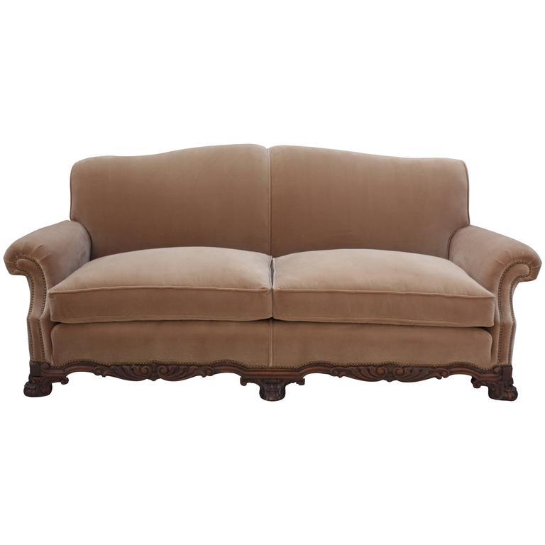 Elegant 1920 Spanish Revival Upholstered Sofa For Sale