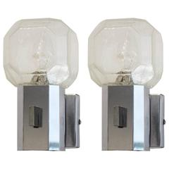 Set of Two Chrome Glass Theatre Wall Lights by Cosack, Germany