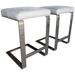 Pair of Nickel Plated Counter Stools Attributed to Leon Rosen for Pace  C. 1970s