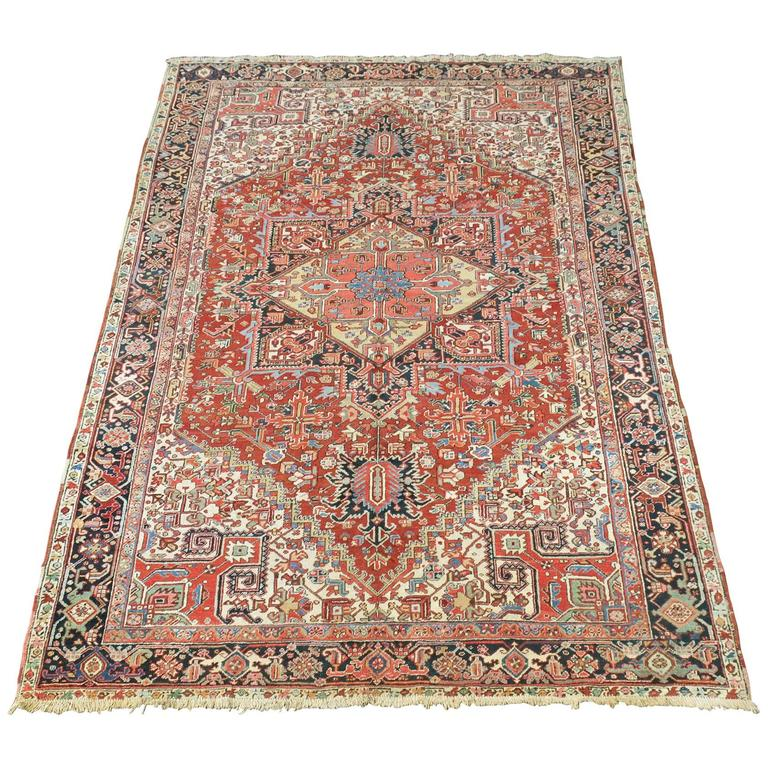 Breathtaking Large Geometric Red 10x12 Bakhtiari Persian: Antique Heriz Carpet With Natural Light Colors For Sale At
