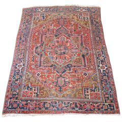 Antique Persian Heriz Carpet Mid Blue Border and Yellow Corners