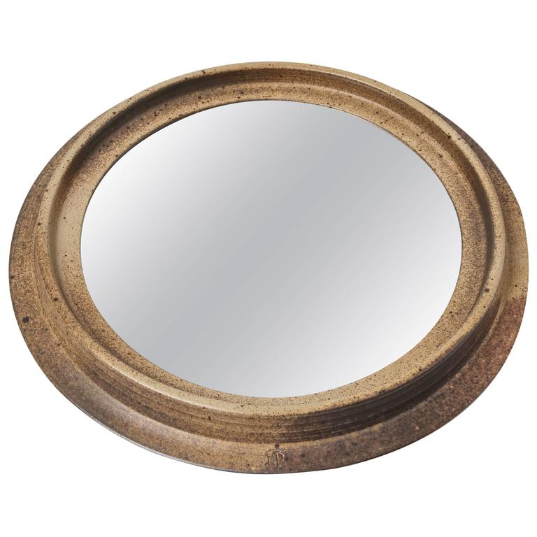 Large Stoneware Mirror by Jean-Jacques Prolongeau