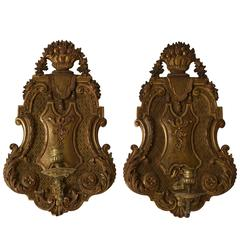 Magnificent and Rare Pair of Carved Giltwood French Regence Wall Appliques