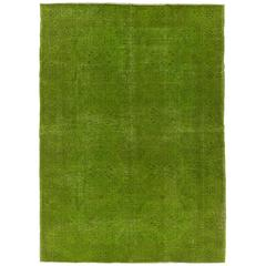 Mid-Century Turkish Rug Over-Dyed in Green Color