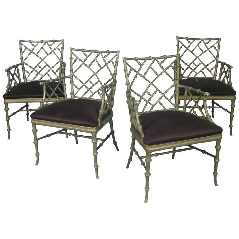 Set of Four Vintage Metal Bamboo Armchairs by Phyllis Morris For Sale