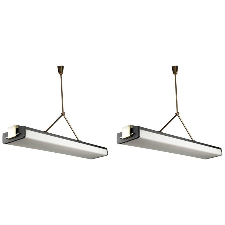 Two Ceiling Lights by Stilnovo, Italy 'Milan', 1950s