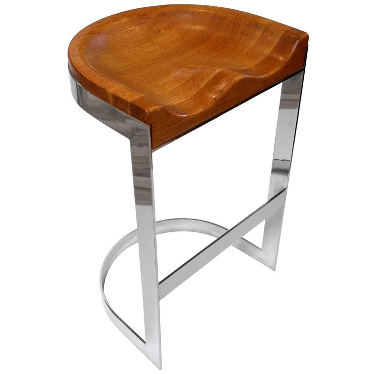 William Bacon Chrome And Oak Bar Stool Circa 1970 At 1stdibs