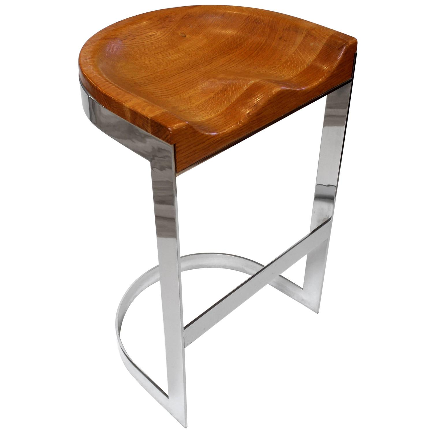 High Quality William Bacon Chrome And Oak Bar Stool, Circa 1970 At 1stdibs