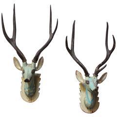 Pair of Folk Art Hand-Painted Mounted Deer Heads